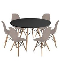 kit mesa jantar eiffel 120cm preta + 6 cadeiras charles eames - nude