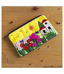 applique cosmetic bag, 'sunny afternoon' (peru)