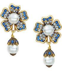 multicolored crystal & beaded floral drop earrings