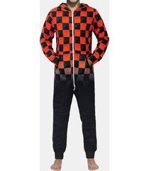 home print plaid tuta patchwork sleepwear sleepwear set per uomo