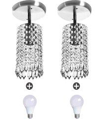 2 lustres clearcrillic redondo cristal acrãlico com lampada - prata - dafiti