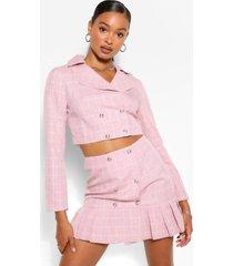 geruite rok met knopen op de voorkant, roze