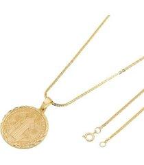 kit medalha são bento tudo joias com corrente cadeado quadrada