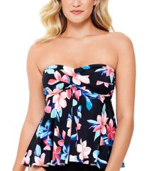 swim solutions lanai printed flyaway tankini top, created for macy's women's swimsuit