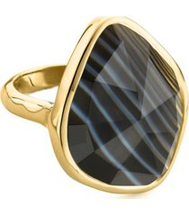 gold siren nugget ring black line onyx