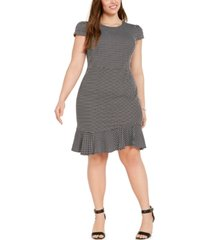betsey johnson trendy plus size polka-dot flounce dress