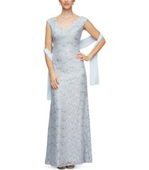 alex evenings petite scalloped lace gown & shawl