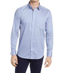 men's johnston & murphy diamond dot button-up shirt, size large - blue