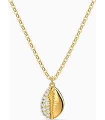 pendente shell pave, bianco, placcato color oro