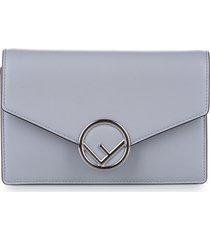 fendi f is leather wallet on chain blue, light blue sz: