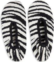 portolano women's zebra-print cashmere-blend slipper socks - black white - size m (7-8)