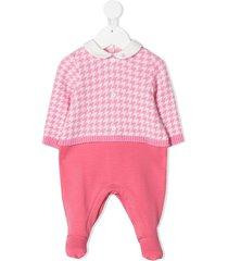 le bebé enfant houndstooth check panelled pajamas - pink