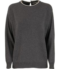brunello cucinelli crewneck sweater virgin wool, cashmere and silk sweater with precious faux-layering