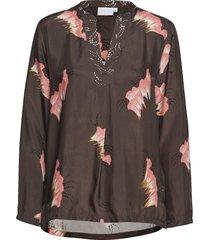 blouse in sky print w. v-neck blouse lange mouwen zwart coster copenhagen