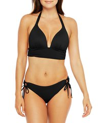 la blanca women's island shirred band bikini top - black - size 10