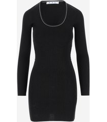 off-white designer dresses & jumpsuits, black viscose long sleeve women's dress