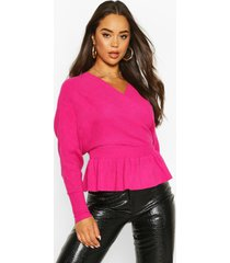 batwing wrap front slouchy sweater, fuchsia