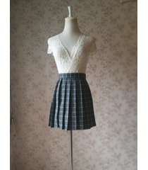 woman girl gray plaid pleated skirt college style pleated plaid skirt-plus size