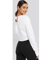 na-kd balloon sleeve cropped sweatshirt - white