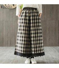 zanzea mujeres ocasionales elásticos de la cintura suelta pantalones anchos de la pierna del remiendo del cordón de pantalones para mujeres -negro