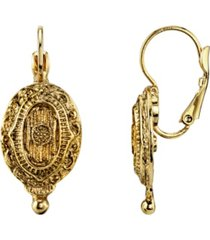 2028 gold-tone oval drop earrings