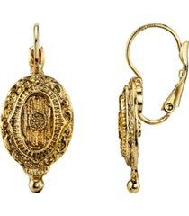2028 gold-tone oval drop earrings