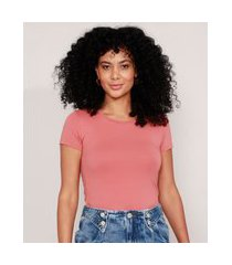 camiseta básica manga curta decote redondo rosê
