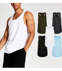 river island mens aqua muscle fit racer vest 5 pack
