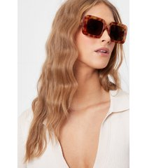 womens gather your torts oversized square sunglasses - brown