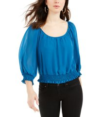guess gregoria smocked 3/4-sleeve top
