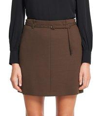 theory women's belted wool-blend mini skirt - oak - size 8