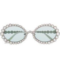 gucci eyewear crystal oval sunglasses - silver
