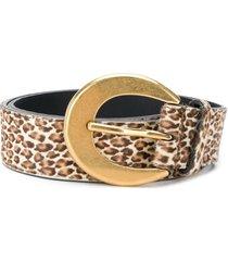 saint laurent leopard print belt - brown