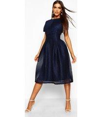 gala midi-jurk met volledige rok, marineblauw
