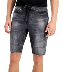 guess men's slim-fit stretch drawstring denim moto shorts