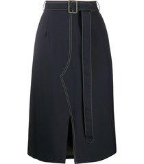marni belted a-line skirt - blue