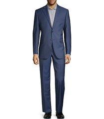 two-piece slim-fit wool silk herringbone suit