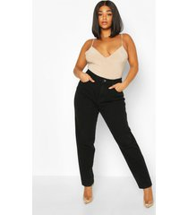 plus high rise mom jeans, black