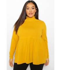 plus high neck long sleeve smock top, mustard