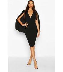 caped wrap midi dress, black