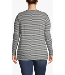 lane bryant women's elbow patch long-sleeve tee 22/24 black and white stripe
