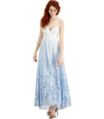 trixxi juniors' ombre floral sequinned gown