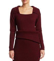 spread collar rib-knit trim wool sweater