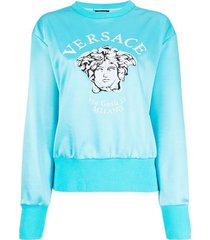 light blue embroidered medusa crew neck sweatshirt