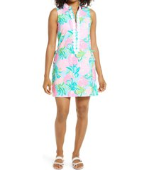 women's lilly pulitzer jonna pineapple shake skort romper, size 16 - blue/green