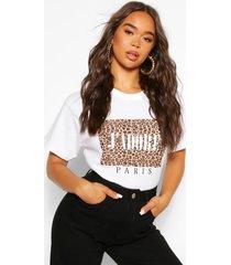 luipaardprint j'adore paris t-shirt, wit