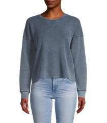 splendid women's crewneck cotton-blend sweatshirt - black - size s