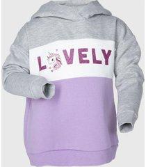 poleron con gorro tricolor unicornio gris family shop