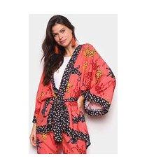 kimono farm estampado amarração feminino