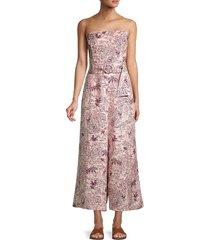 astr the label women's kona printed linen-blend jumpsuit - blossom tropical print - size m